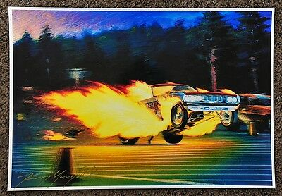 New Kenny Youngblood Signed Hot Wheels Don Prudhomme The Snake Ii Flames Print