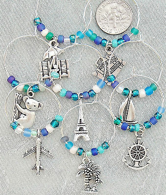 FREE SHIP 8 Travel Wine Charms Suitcase Koala Eiffel Tower Blue Green Beads