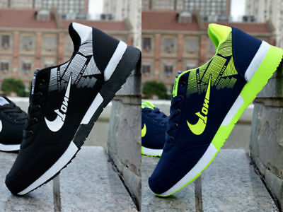 Green Men's Sports Breathable Sneakers Shoes Casual Fashion Running Athletic