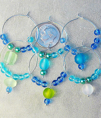 Set of 6 Frosted Sea Beach Glass Wine Charms Greens Blues FREE SHIP