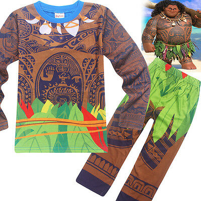 Moana Kids Boys Girls Costume Maui Tattoo Cosplay Clothes+Pants Set Halloween US