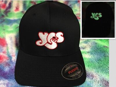 Yes Classic Logo Embroidered Glow in Dark Flexfit Ball Cap Black Olive or Navy