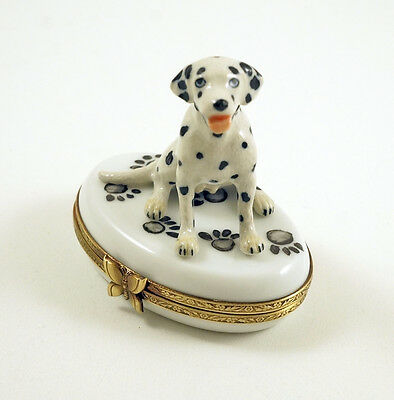 New French Limoges Trinket Box Cute Dalmatian Dog Puppy On Dog Paw Prints