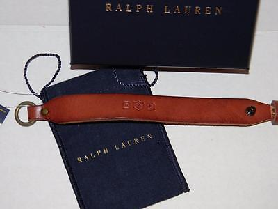Ralph Lauren Polo Brown Leather Wristband Bracelet Wrist Strap Nwt & Box