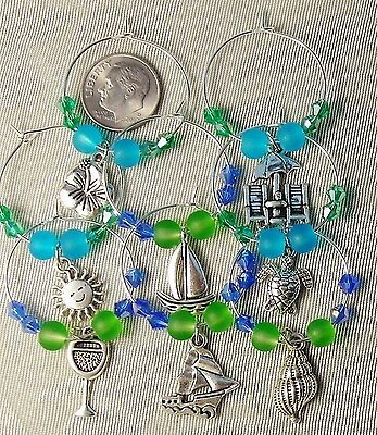 8 Frosted Beach Glass Crystal Wine Charms Green Blue Boats Turtle FREE SHIP
