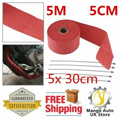 5M 5CM Red Exhaust Heat Cable Pipe Wrap With 5x 30cm Metal Strips Ties Kit NEW