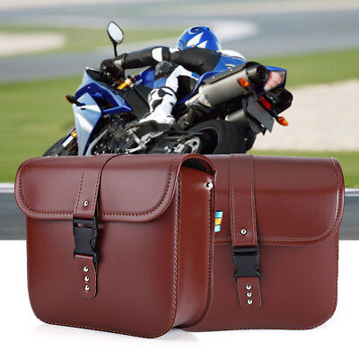 Universal 2x Brown Motorcycle PU Leather Saddle Bags Luggage Storage Tool Pouch