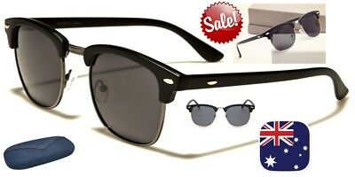 Polarised Sunglasses Vintage Retro Half Rimmed Frame POLARIZED LENS UV400+Case