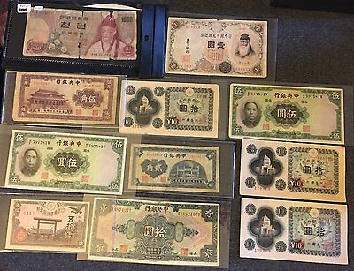 Vintage Chinese and Japanese Currency Lot of Various Values and Years