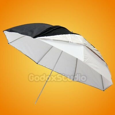"Studio 40"" 100cm Silver Black Reflective +  White 2in1 Double Layer Umbrella UK"