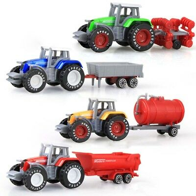 AL_ 4Pcs/Set 1:64 Engineering Car Tractor Farm Vehicle Model Boy Kids Toy Deluxe