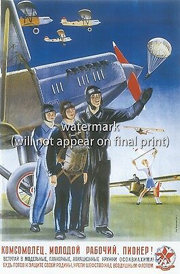 "Soviet Russian Aviation Poster Print ""Youth! Yoin The Air Forces!"" A5/4/3/2/1"