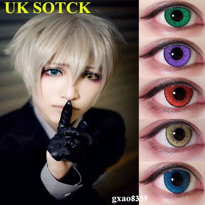 UK Sale Big Eye Coloured Contact Lenses Crazy Halloween Coloured Cosmetic Makeup