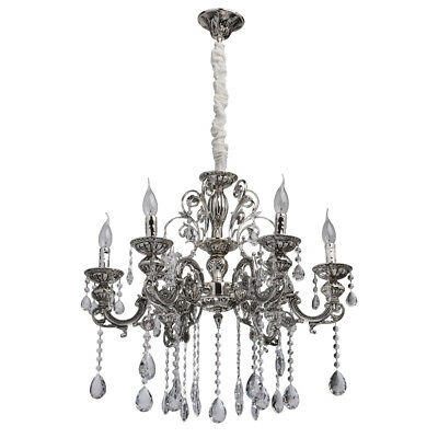 Baroque chandelier 6 candle holder antique silver metal colour clear crystal