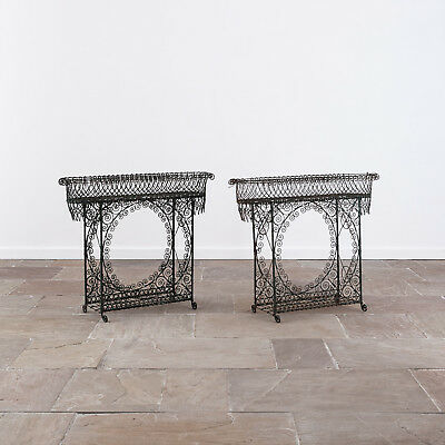 Pair of 19th Century Wirework Plant Stands. Garden Antiques. Planter.