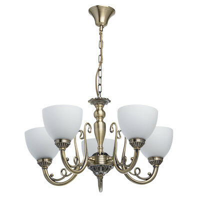 Elegant pendant chandelier antique brass colour metal white matt glass 5*60W E27