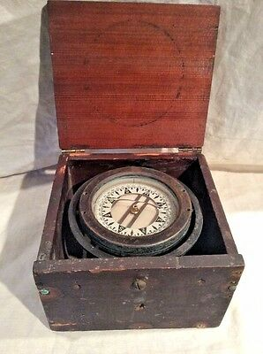 Antique Wilcox Crittenden Gimballed Box Compass Very Good Functional Condition