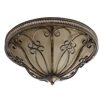 Country style flush ceiling light antique gold colour wrought iron ivory bowl