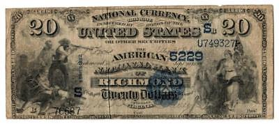1882 $20 American National Bank of Richmond National Banknote Lot 79