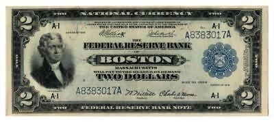 1918 Federal Reserve Banknote $1 and $2 Pair Lot 56
