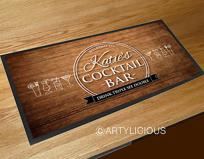 Personalised with any name cocktail wood effect bar runner mat Bars Clubs