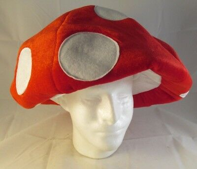 Super Mario Brothers Red & White MUSHROOM HAT Adult Halloween Costume