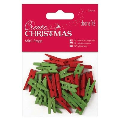 Mini Clothes Pegs - Red & Green x 36 - Craft Home Decoration Display Christmas
