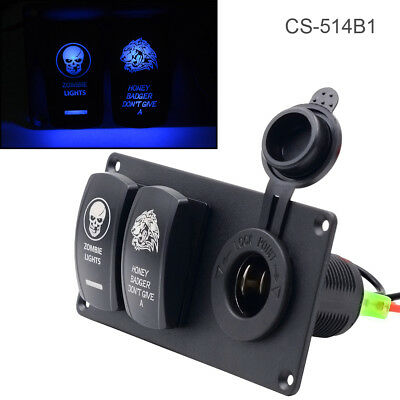 20A 5 PIN Switch Combination Panel Blue LED Car Charger Switch Cigarette Lighter