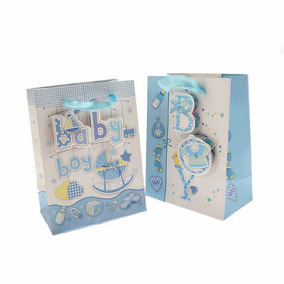 5pcs 24cm x 18cm Baby Boy Blue 3D Sparkle baby Shower Party Large Paper Gift Bag