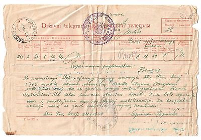 Kingdom Of Yugoslavia State Telegram 1941 Banovina Hrvatska