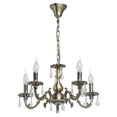 Classic style candle chandelier antique brass colour metal crystal 5*60W E14