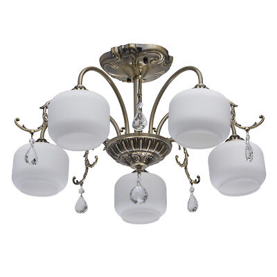 Classic 5 way chandelier antique brass color metal white glass crystal 5*60W E27