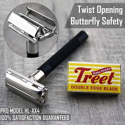 Butterfly Safety Razor & 5 Treet Double Edge Blades Classic Shaving Vintage Men