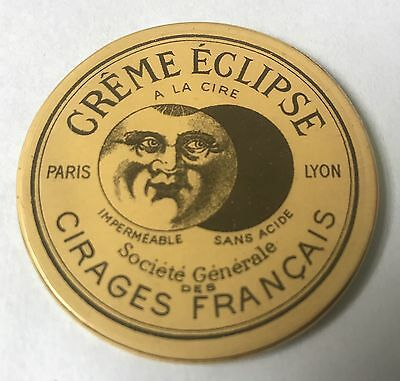 Vintage Celluloid Pocket Mirror Advertising French Creme Eclipse Boot Polish