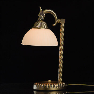 Classic desk lamp brass antique colour metal white glass shade 1*60W E27