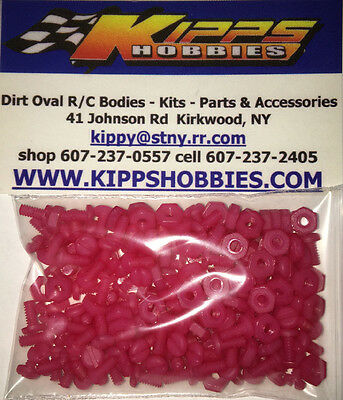 4-40 Pink Nylon Rc Body Fasteners 200 Pcs Dirt Oval Modified Sprint Car Edm Mdm