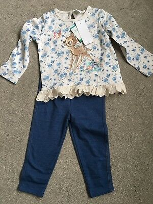 Girls Bambi Disney Floral Top And Leggings Bnwt 12/18 Months