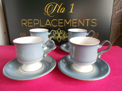 4 x Denby Castile Tea Cups and Saucers Set