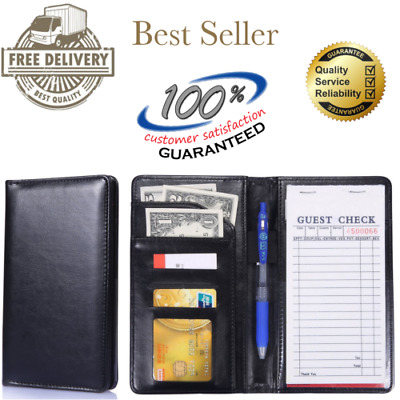 Waiter Waitress Book Server Wallet Pad Organizer Check Holder Money Pocket Black