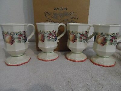 Avon Sweet Country Harvest - 4 Pedestal Mugs