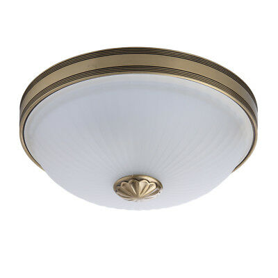 Classic flush ceiling light antique brass colour metal white glass 2*60W E27