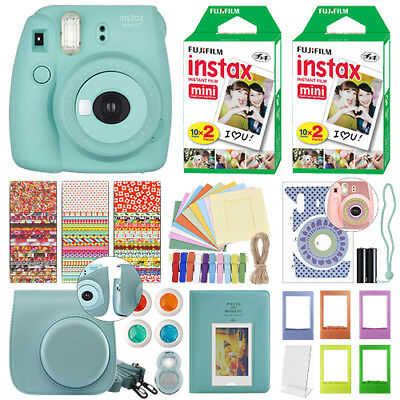 Fuji Instax Mini 8+ Fujifilm Instant Film Camera Mint + 40 Film Deluxe Bundle