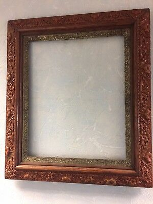 "Antique Ornate Raised Floral Detailed Picture Frame 20""x23"" Gilded Inner Frame"