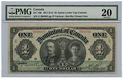 1911 D-G Dominion of Canada $1 Note DC-18b PMG VF 20 Series Letter Top Corners