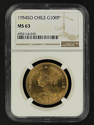 1954SO Chile Gold 100 Pesos NGC MS-63 -162049