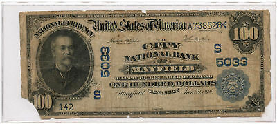 1902 $100 Banknote Plain Back The City National Bank of Mayfield, KY Ch #5033