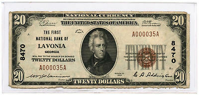 1929 $20 Banknote Type 1 The First National Bank of Lavonia, GA Ch #8470