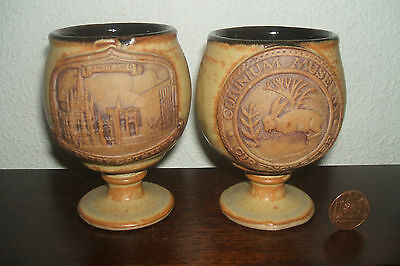 Pair Vintage Medieval Style Chalice Cups Coventry Cirencester Motifs Pottery