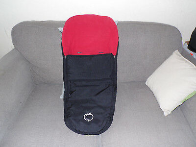 Icandy Apple Pushchair  Footmuff / Cosytoes in Black & Red Fleece lined