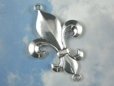 62mm Large Fleur de Lis Focal Necklace Pendant Silver Tone Two Loops NOLA  #P049